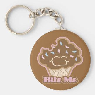 bijt me chocolade cupcake sleutel hangers