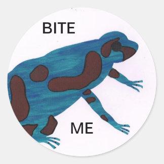 Bijt me ronde sticker