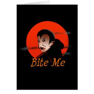 Bijt me Vampier Halloween Kaart