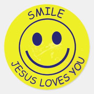 Bikijzer Jesus Loves You Ronde Sticker