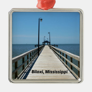 Biloxi, lidstaten zilverkleurig vierkant ornament