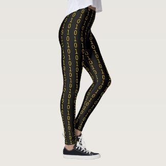 binair oranje patroon op zwarte leggings