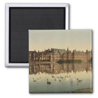 Binnenhof over Hofvijver, Den Haag Vierkante Magneet
