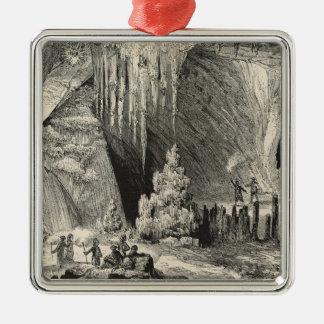Binnenland van de Grot van Antiparos Zilverkleurig Vierkant Ornament