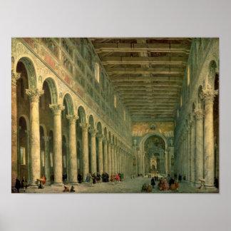 Binnenland van de Kerk van San Paolo Fuori le Poster