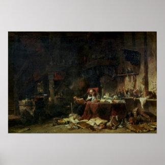 Binnenland van de Studie van een Alchimist Poster