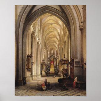 Binnenland van een Kerk, 1840 Poster