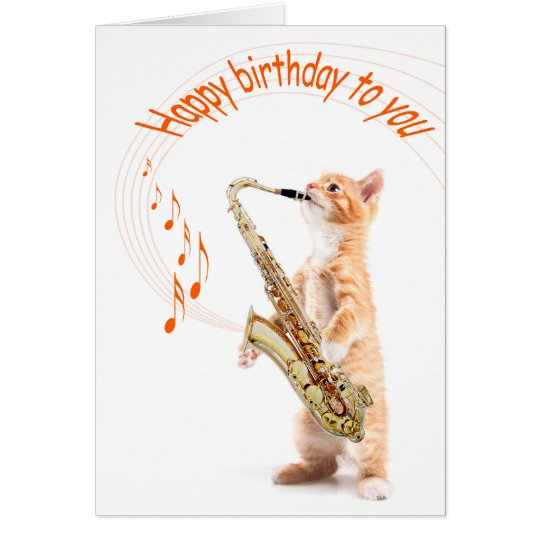 Birhtday card cat with saxofoon kaart