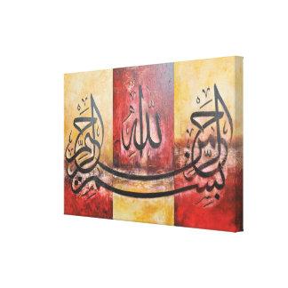 Bismillah 3 Comités in één ORIGINELE Kunst op Canvas Afdruk