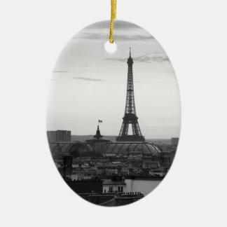 Black and White Parijs Keramisch Ovaal Ornament