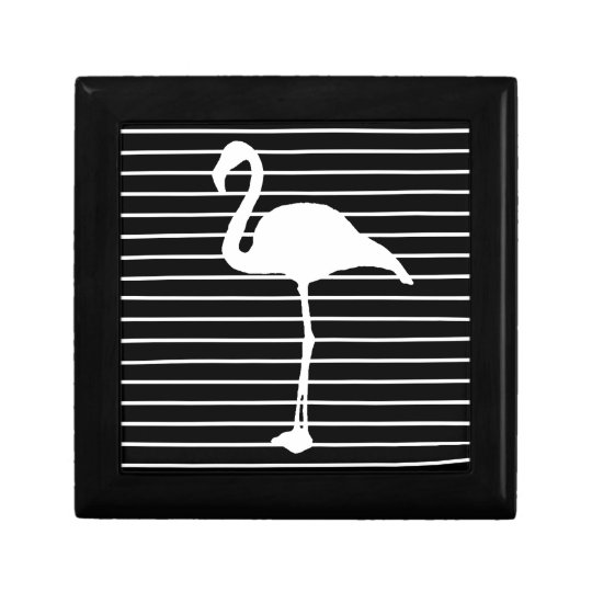 Black and White Striped Flamingo Decoratiedoosje
