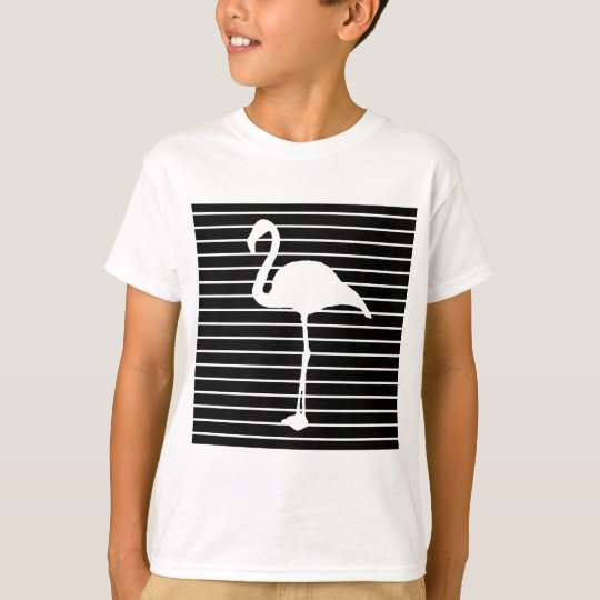 Black and White Striped Flamingo T Shirt