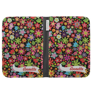 Black Girly Flowers Kindle Personalized Name Case Cases For The Kindle