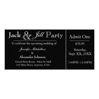 Black Jack en Jill Shower Ticket Invitation Reclamekaart