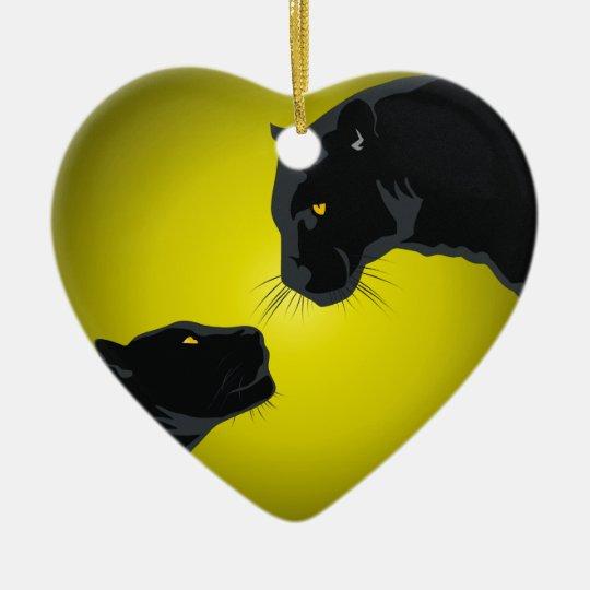 Black panthers keramisch hart ornament