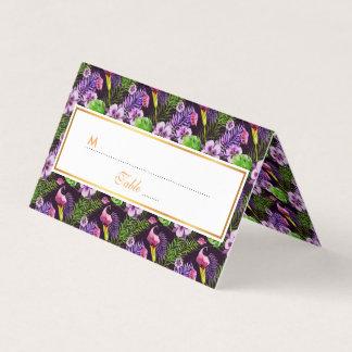 Black purple tropical flora watercolor pattern