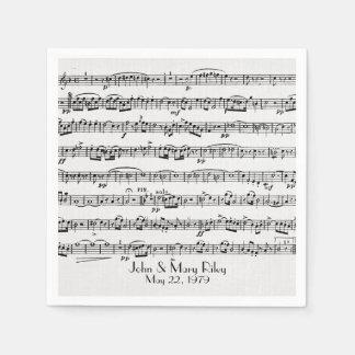 blad muziek voor de partij van de wegwerp servetten