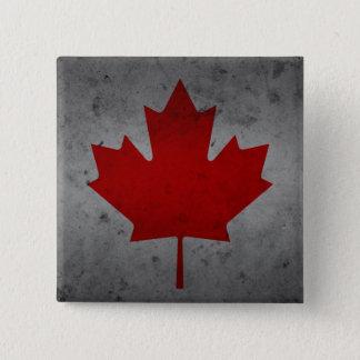 Blad van de Esdoorn van de Vlag van Canada Grunge Vierkante Button 5,1 Cm