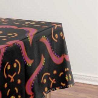 Blad zwarte Jimette oranje roze Design Tafelkleed