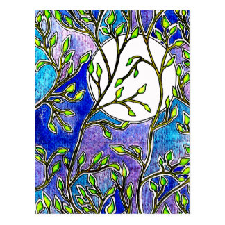 Bladeren en Maan - Blauwe Waterverven Briefkaart
