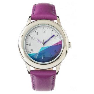 Blauw abstract geometrisch vormen kinder horloge