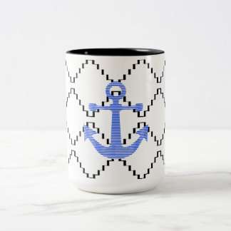 Blauw anker - Abstract geometrisch patroon - Tweekleurige Koffiemok