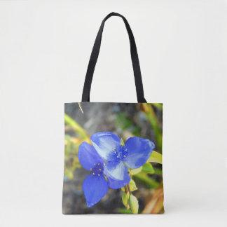 Blauw Canvas tas Wildflower