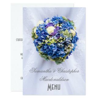 Blauw de kledingsmenu van het bloemen kaart