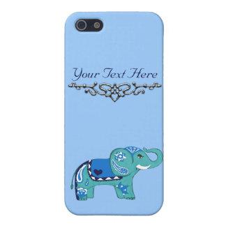 (Blauw/de Lichtblauwe) Olifant van de henna iPhone 5 Hoesje