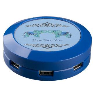(Blauw/de Lichtblauwe) Olifant van de henna USB Oplaadstation