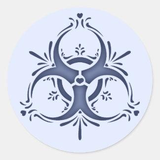 Blauw Delft Biohazard Ronde Sticker