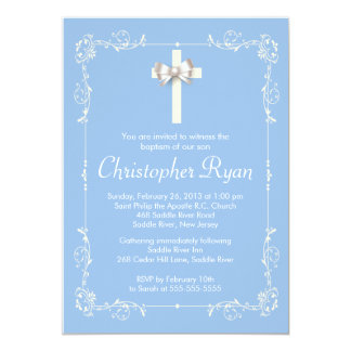 Blauw Elegant Doopsel   het Dopen Elegant Kruis 12,7x17,8 Uitnodiging Kaart
