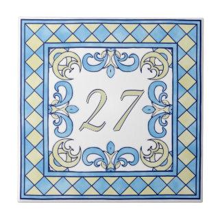 Blauw en Geel Groot Huisnummer Keramisch Tegeltje
