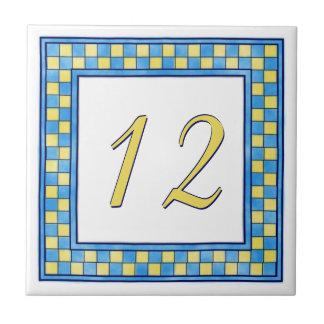 Blauw en Geel Huisnummer Tegeltje