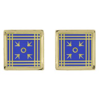 Blauw-en-gouden middeleeuws-Gevormde Manchetknopen Vergulde Manchetknopen