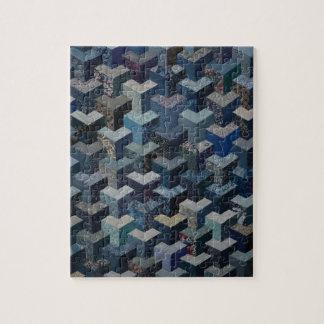 Blauw en grijs dekbedpatroon puzzel