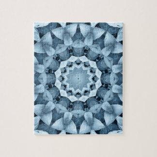 Blauw en grijs/grijs, bloemmandala foto puzzels