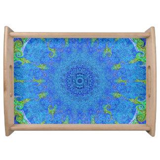 Blauw en groen abstract ontwerp dienend dienblad