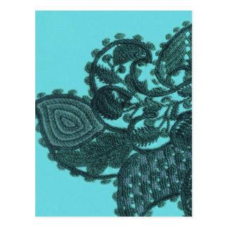 Blauw en Groen Boheems Paisley Briefkaart
