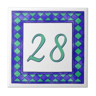 Blauw en Groen Groot Huisnummer Keramisch Tegeltje