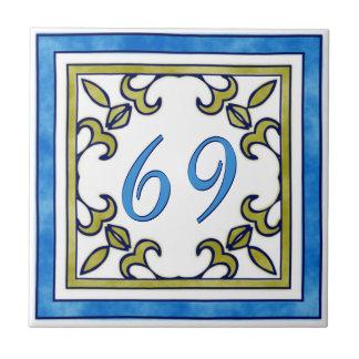 Blauw en het Groene Grote Huisnummer van de Olijf Tegeltje Vierkant Small
