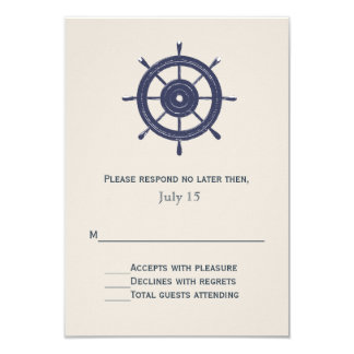Blauw en Kaart van het Huwelijk Themed RSVP van 8,9x12,7 Uitnodiging Kaart