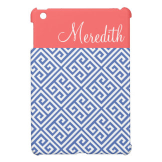 Blauw en Monogram van de Douane van het Koraal het Hoesje Voor iPad Mini