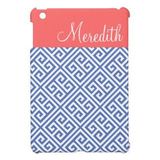 Blauw en Monogram van de Douane van het Koraal het iPad Mini Covers