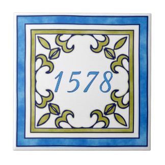 Blauw en Nummer van het Plattelandshuisje van de Keramisch Tegeltje