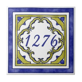 Blauw en Nummer van het Plattelandshuisje van de Tegeltje Vierkant Small