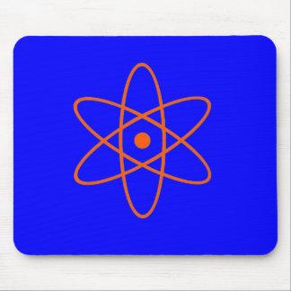Blauw en oranje kernsymbool muismat