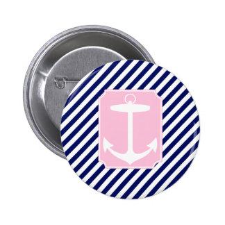 Blauw en Roze Anker Ronde Button 5,7 Cm