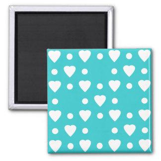 Blauw en Wit hartpatroon Magneet