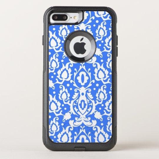 Blauw en Wit van het Damast van Casbah het het OtterBox Commuter iPhone 7 Plus Hoesje